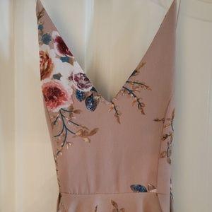 Tan floral hankerchief dress